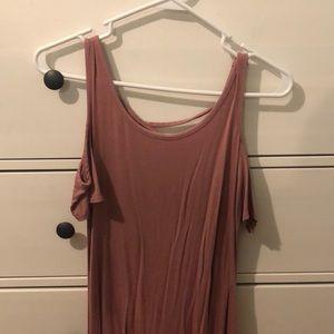 cold shoulder blush pink T-shirt dress